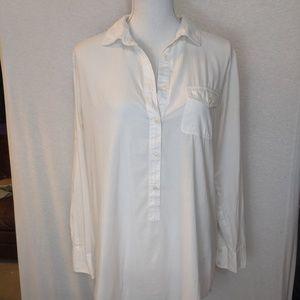 J. Crew White Linen Button Down Long Sleeve Shirt